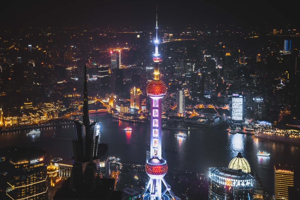 Ночной Шанхай с высоты